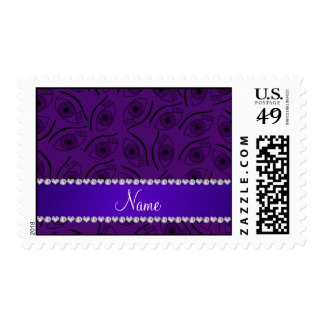 Personalized name purple eye pattern postage stamps