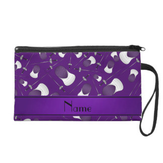 Personalized name purple fencing pattern wristlet