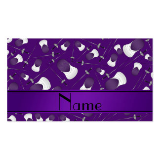 Personalized name purple fencing pattern Double-Sided standard business cards (Pack of 100)