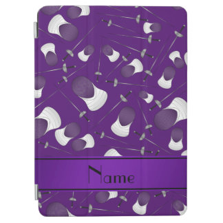 Personalized name purple fencing pattern iPad air cover