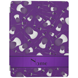 Personalized name purple fencing pattern iPad cover