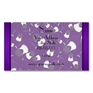 Personalized name purple fencing pattern magnetic business cards (Pack of 25)