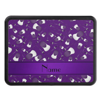 Personalized name purple fencing pattern hitch covers