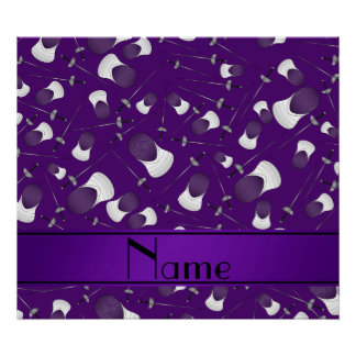 Personalized name purple fencing pattern poster