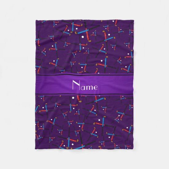 Personalized name purple field hockey fleece blanket