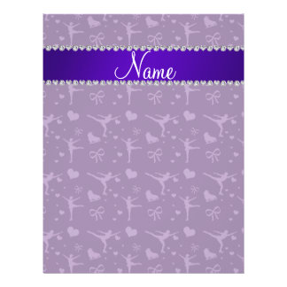 "Personalized name purple figure skating 8.5"" x 11"" flyer"