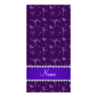 Personalized name purple figure skating photo card