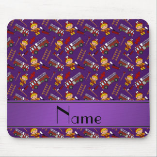 Personalized name purple firemen trucks ladders mouse pad