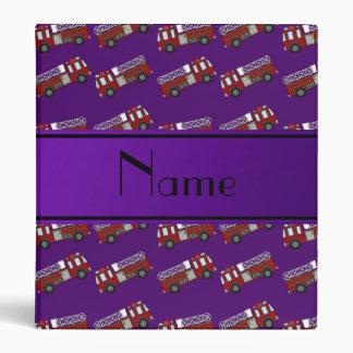 Personalized name purple firetrucks vinyl binders