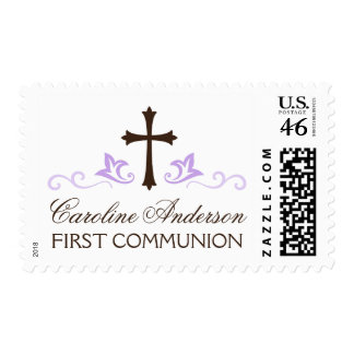 Personalized name purple first holy communion postage