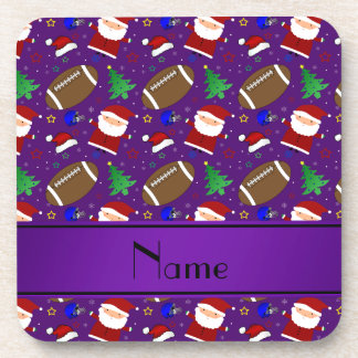 Personalized name purple football christmas drink coaster