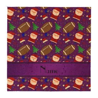 Personalized name purple football christmas coaster