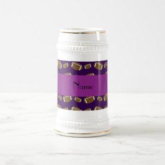 Personalized name purple footballs coffee mugs