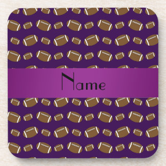Personalized name purple footballs beverage coaster