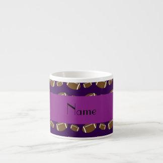 Personalized name purple footballs espresso mug