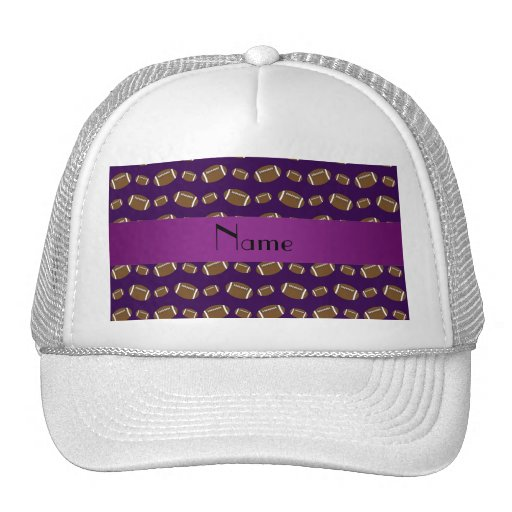Personalized name purple footballs trucker hat