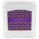 Personalized name purple footballs igloo roller cooler