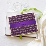 Personalized name purple footballs jumbo cookie