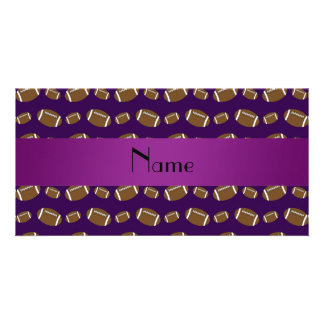 Personalized name purple footballs photo greeting card