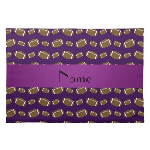 Personalized name purple footballs placemat