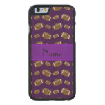 Personalized name purple footballs carved® maple iPhone 6 slim case