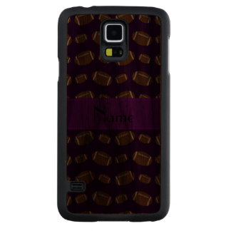 Personalized name purple footballs carved® walnut galaxy s5 slim case