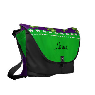 Personalized name purple frogs messenger bag