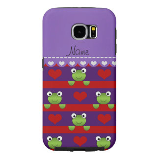 Personalized name purple frogs red hearts stripes samsung galaxy s6 case