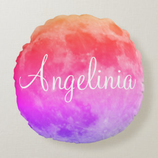Personalized Name Purple Full Moon solid color Round Pillow