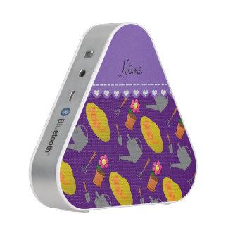Personalized name purple gardening flowers speaker