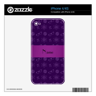 Personalized name purple geek pattern iPhone 4 decals