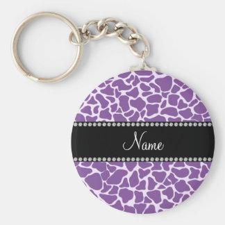 Personalized name purple giraffe pattern basic round button keychain