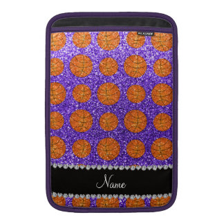 Personalized name purple glitter basketballs MacBook air sleeve