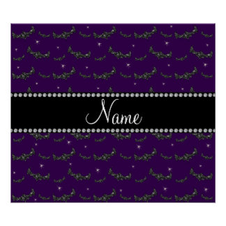 Personalized name purple glitter bats poster