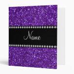 Personalized name purple glitter binders