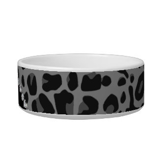 Personalized name purple glitter black leopard bowl