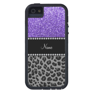 Personalized name purple glitter black leopard case for iPhone 5
