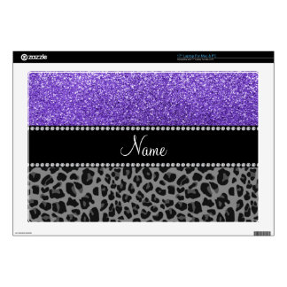 Personalized name purple glitter black leopard laptop decals
