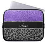 Personalized name purple glitter black leopard computer sleeve