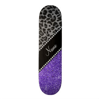 Personalized name purple glitter black leopard skate board deck