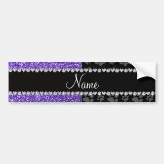 Personalized name purple glitter black paws bumper stickers