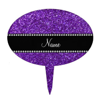 Personalized name purple glitter cake toppers