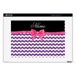 Personalized name purple glitter chevrons pink bow laptop skins