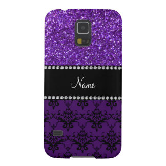 Personalized name purple glitter damask galaxy s5 covers