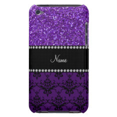 Personalized Name Purple Glitter Damask Ipod Touch Case-mate Case at Zazzle