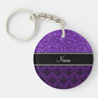Personalized name purple glitter damask acrylic keychains