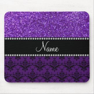 Personalized name purple glitter damask mouse pad