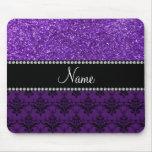 Personalized name purple glitter damask mousepads