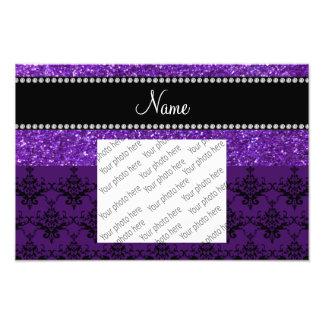 Personalized name purple glitter damask photo print