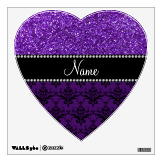 Personalized name purple glitter damask room graphics